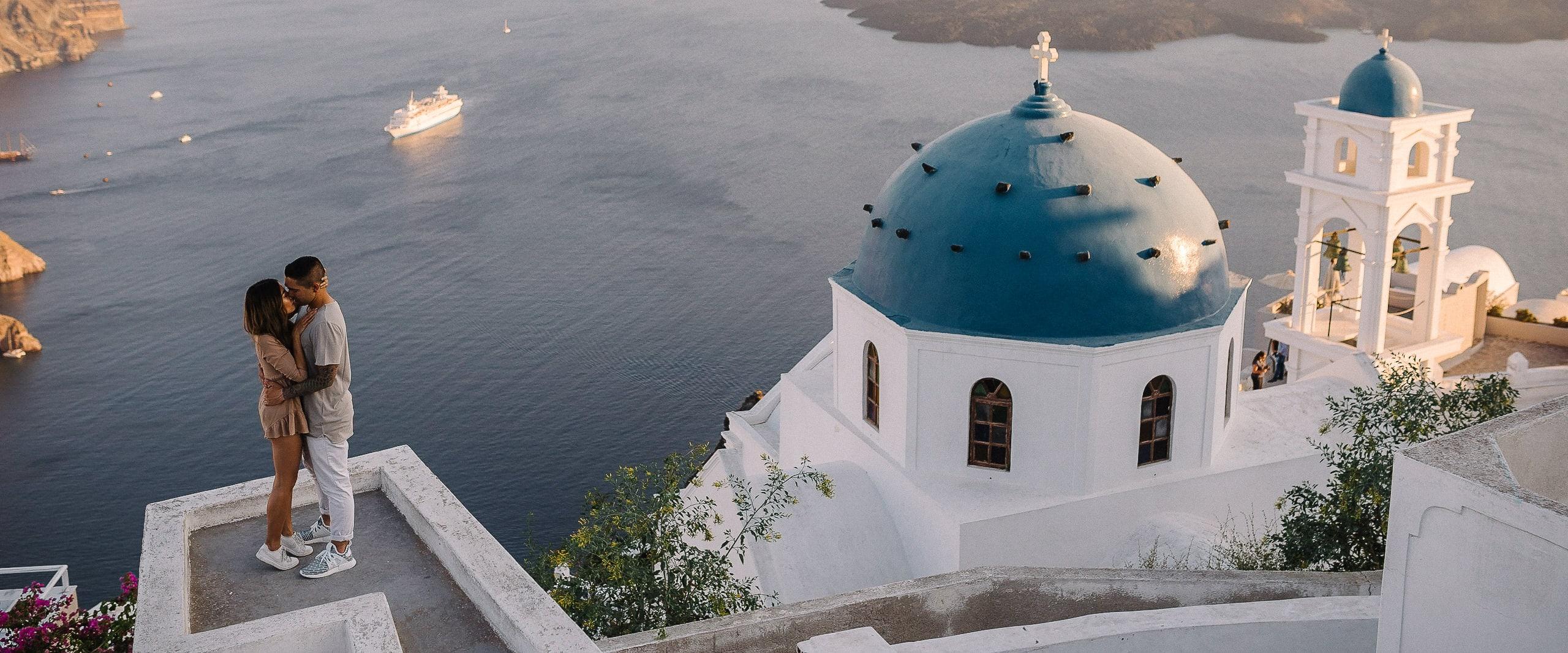 Santorini proposal shoot wedding photographer