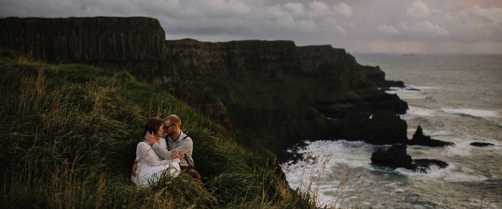 Irish Clifftop Adventure session Northern Ireland elopement