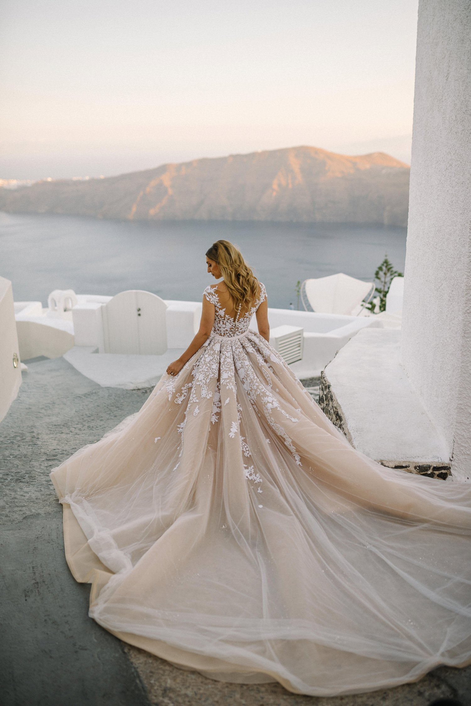 Steven Khalil Dress Santorini Destination wedding