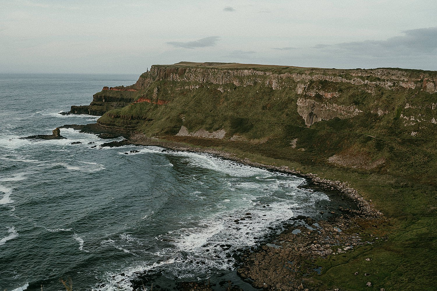 The view from the top of the cliff top path at the Giants Causeway in Co Antrim, Northern Ireland