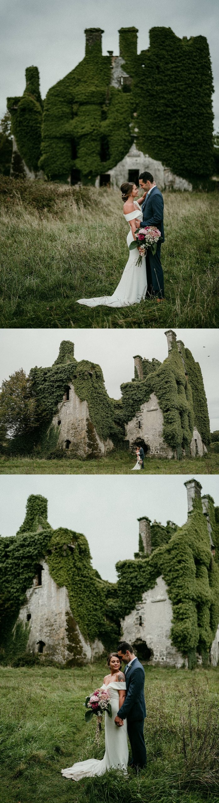 Wedding portraits in front of an ancient Irish castle in Co Galway, Ireland. Emotional elopement portraits. Irish elopement photographer. Menlo Castle elopements