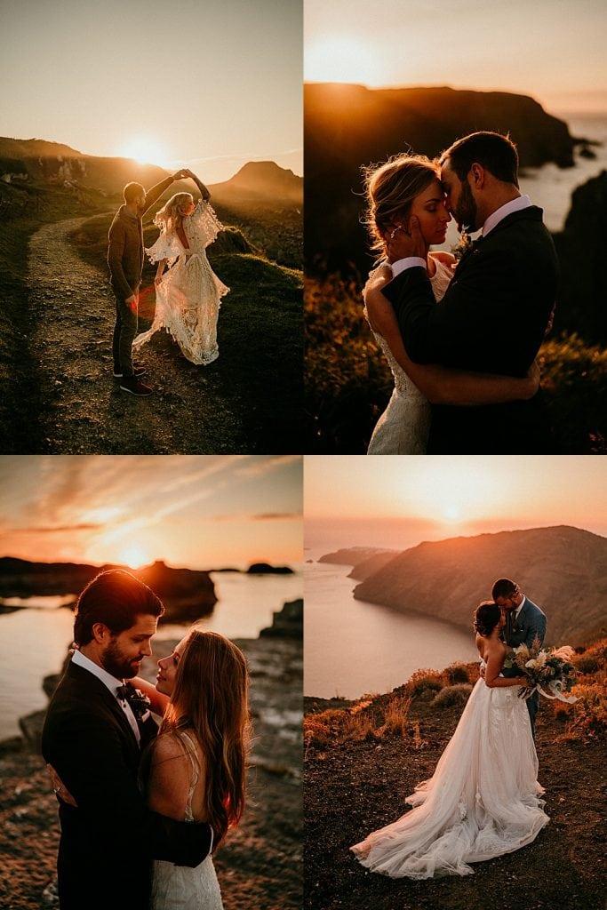 wedding portraits in the sunset. Elopement portraits at golden hour in Ireland. Northern Ireland elopements