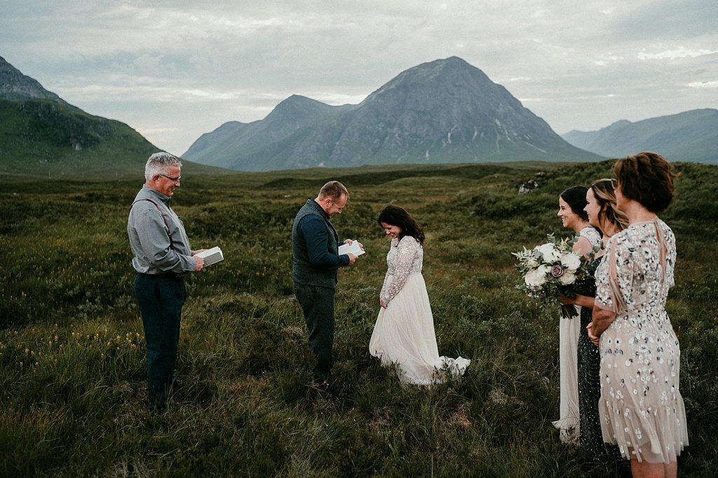 A stunning ceremony location for a Scottish elopement. Scotland elopements. Adventure elopement in the Glencoe Mountains. Elopement Glen Coe