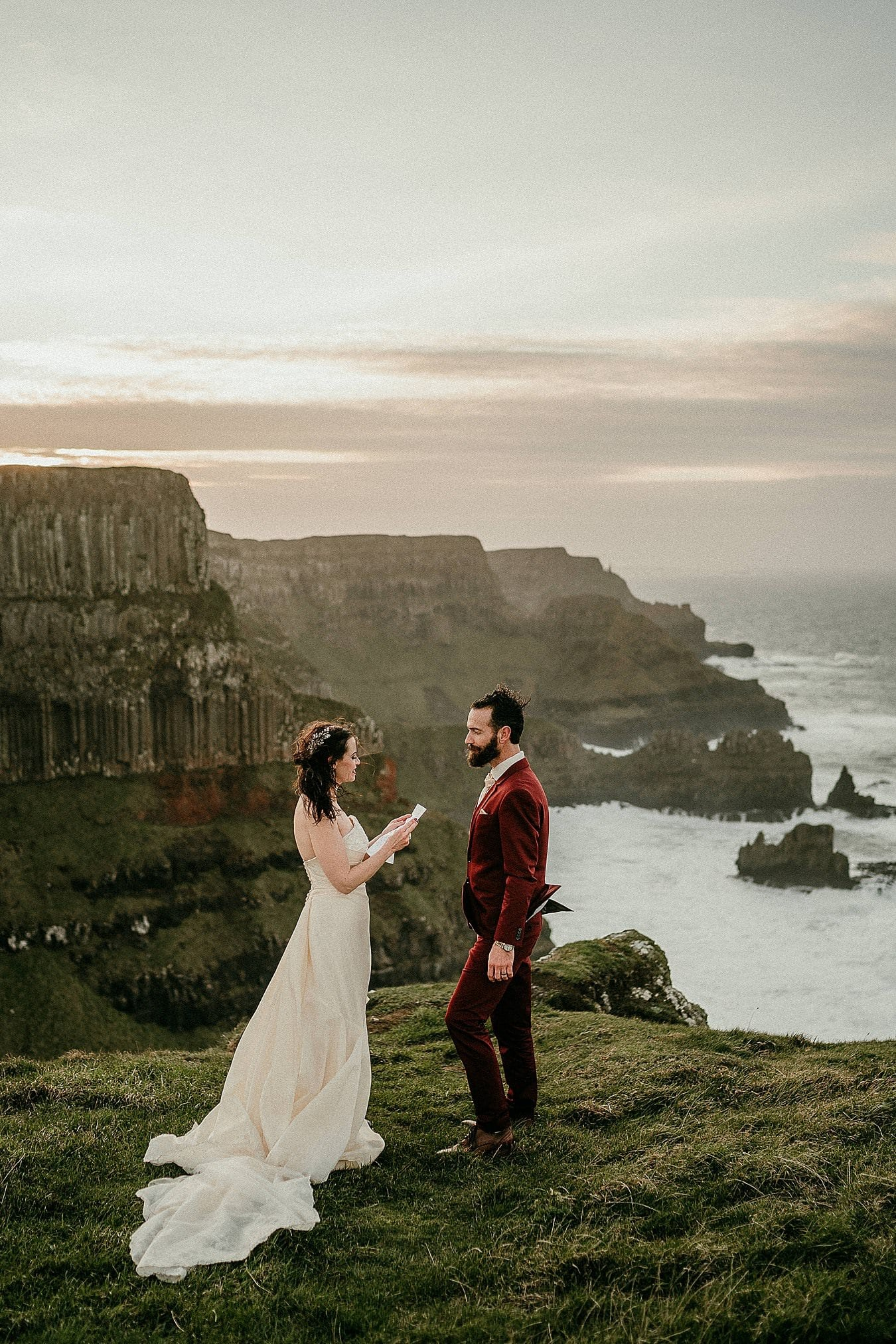 The Cliff top path at the Giants Causeway Northern Ireland adventure elopements irish elopement photographer