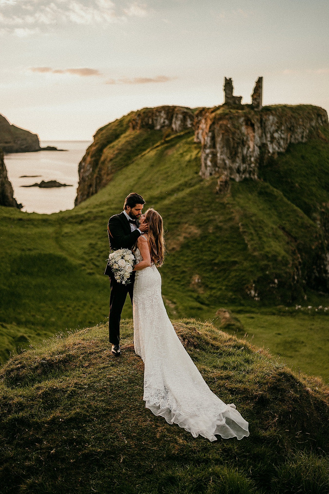 Dunseverick Castle ruins Northern Ireland elopement photographer Irish elopements