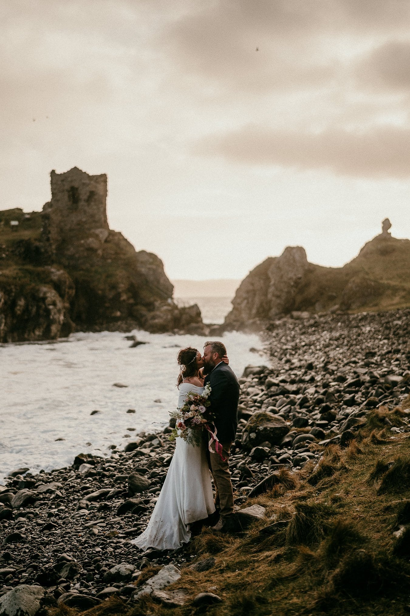Kinbane Castle Northern Ireland elopement photographer Irish elopements Small weddings