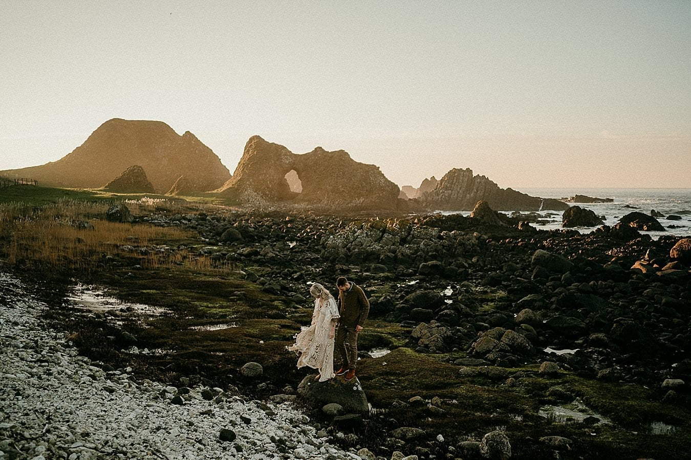 A romantic adventure session in Northern Ireland. Causeway Coast couples session. Northern Ireland couples session. Ireland elopement photorgapher.