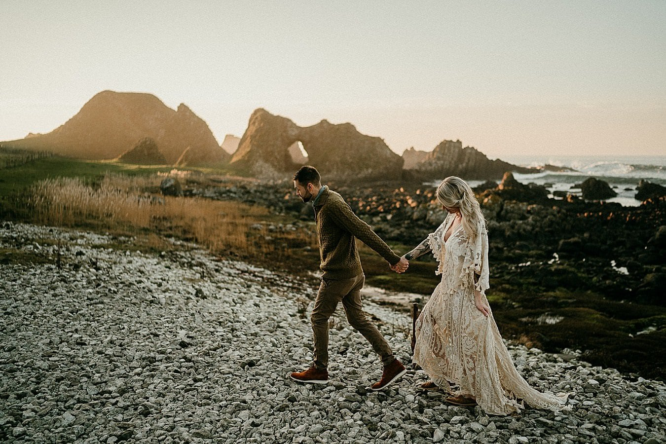 Adventure elopements in Northern Ireland. A romantic adventure session in Northern Ireland. Causeway Coast elopements. Ireland elopement photographer.