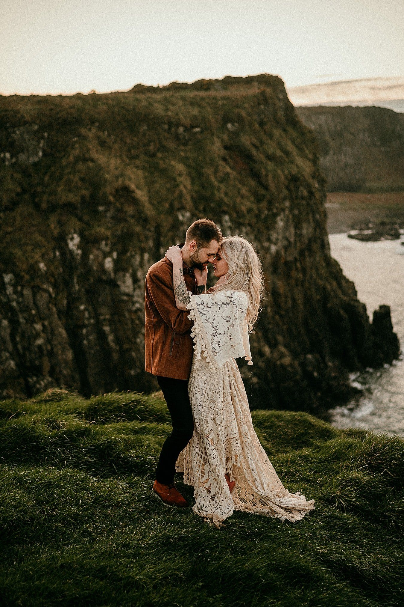 A sunset portrait in beautiful light on the Causeway Coast. Romantic adventure elopements in Europe.